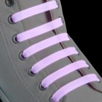 Набор шнурков для обуви, 6 шт, силиконовые, плоские, светящиеся в темноте, 13 мм, 9 см, цвет сиреневый