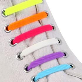 Набор шнурков для обуви, 6 шт, силиконовые, плоские, разноразмерные, 7 мм, 7,5 см, цвет «радужный»