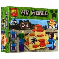 КОНСТРУКТОР MY WORLD 2 IN 1 10191 (66 деталей) Стив и зомби