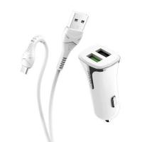 Автомобильное зарядное устройство Hoco Z31 2USB + кабель microUSB (быстрая зарядка)