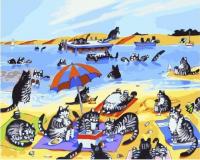 Картина по номерам 40*50 см, Кошачий пляж