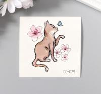 """Татуировка на тело цветная """"Кошка с бабочкой и цветами"""" 6х6 см   5310491"""