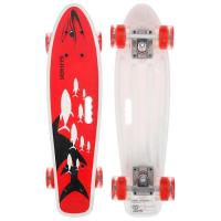 Скейтборд с ручкой 55 х 14 см, колеса световые PU 60 х 45 мм, ABEC 7, алюминиевая рама   5290556