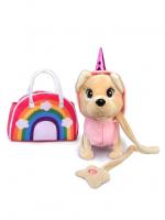 Интерактивная собачка  в радужной сумочке в комбинизончике  (ходит,муз) KKX-10074