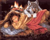 Картина по номерам 40*50 см, Женщина и волк