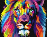 Картина по номерам 40*50 см, Радужный лев