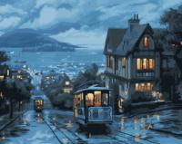 Картина по номерам 40*50 см, Ночной трамвай