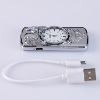 """Зажигалка электронная """"Орёл"""" в подарочной коробке, USB, спираль, часы с подсветкой   4503203"""