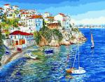 Картина по номерам 40*50 см, Белые домики Греции