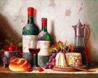 Картина по номерам 40*50 см,  Натюрморт с вином и сыром
