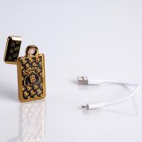 """Зажигалка электронная """"Биткоин"""" в подарочной коробке, USB, спираль, чёрно-золотая, 3.5х7 см 3018086"""