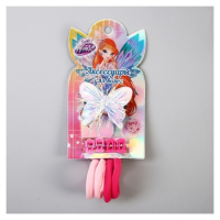 Набор для волос ВИНКС, зажим-бабочка с пайетками, 4 резинки, 4 крабика, 7,5х13,5 см   4669409