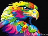 Картина по номерам 30*40 см, Радужный орёл
