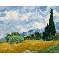 Картина по номерам 40*50 см, Пшеничное поле с кипарисами