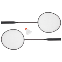 Бадминтон, набор 3 предмета: 2 металлические ракетки, волан, цвета МИКС