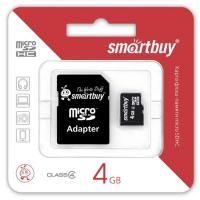 КАРТА ПАМЯТИ MICROSD SMARTBUY 4GB + АДАПТЕР SD CLASS 4