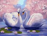 Картина по номерам 40*50 см, Лебеди среди лотоса