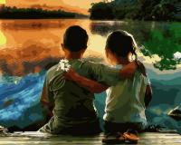 Картина по номерам 40*50 см, Дружба на  берегу