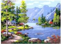 Картина по номерам 30*40 см, Домик у озера