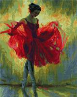 Алмазная мозаика 40*50 см, Балерина в красном