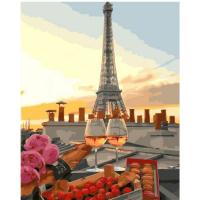 Картина по номерам 40*50 см, Бокалы в Париже