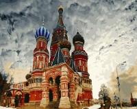 Картина по номерам 40*50 см, Храм Василия Блаженного