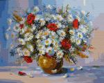 Картина по номерам 40*50 см, Букет ромашек в вазе