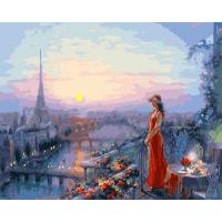 Картина по номерам 40*50 см, Дама в красном на веранде