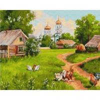 Картина по номерам 40*50 см, Деревня с церковью
