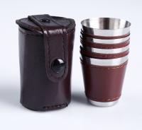 Набор рюмок в коричневом чехле из экокожи, 4 шт. × 30 мл 546447