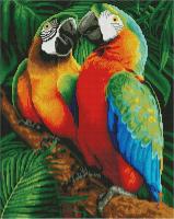 Алмазная мозаика 40*50 см, Семья попугаев