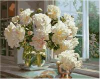 Картина по номерам GX 38402 Пионы у окна 40*50