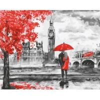 Картина по номерам 40*50 см, Красный Лондон. Пара под зонтом
