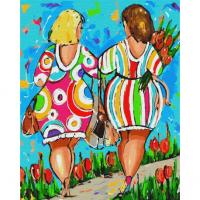 Картина по номерам 40*50 см, Яркие подружки