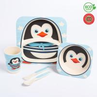 """Набор бамбуковой посуды """"Пингвинчик"""", тарелка, миска, стакан, приборы, 5 предметов   4591071"""