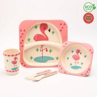 """Набор бамбуковой посуды """"Розовый фламинго"""", тарелка, миска, стакан, приборы, 5 предметов 4167327"""