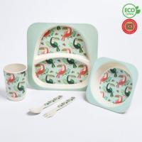 """Набор бамбуковой посуды """"Тукан"""", тарелка, миска, стакан, приборы, 5 предметов 4482564"""