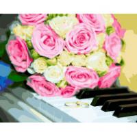 Картина по номерам 40*50 см, Розы на клавишах