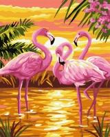 Картина по номерам 40*50 см, Розовые фламинго на закате