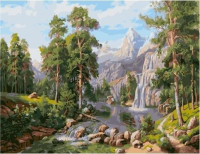 Картина по номерам PK 59026 (GX 9486) Пейзаж с водопадом (Потапов Виталий)  40*50 Эксклюзив