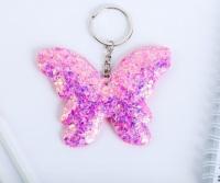 Брелок бабочка глитерный, цвет розовый 4862131