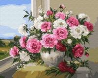 Картина по номерам 40*50 см,  Прелесть, розы