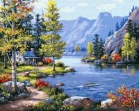 Картина по номерам 40*50 см,  Домик в горах