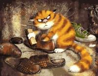 Картина по номерам 40*50 см,  Недовольный кот
