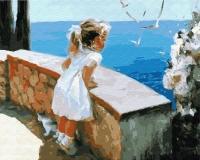 Картина по номерам 40*50 см,  Девочка на набережной