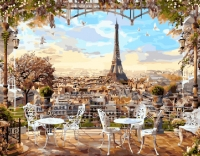 Картина по номерам 40*50 см,  Кафе с видом на Эйфелеву башню