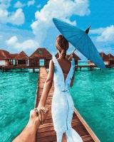 Картина по номерам 40*50 см,  Следуй за мной. Мальдивские отстрова