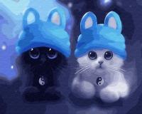 Картина по номерам 40*50 см,  Котята в шапочках