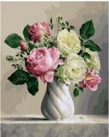 Картина по номерам 40*50 см,  Розы в белой вазе