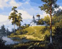 Картина по номерам 40*50 см, Церковь у реки